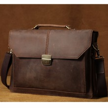 TIDING Genuine Leather Briefcase Business Handbag Laptop Notebook Bag Retro Style Document Bag Men Brown Canvas Strap 1078