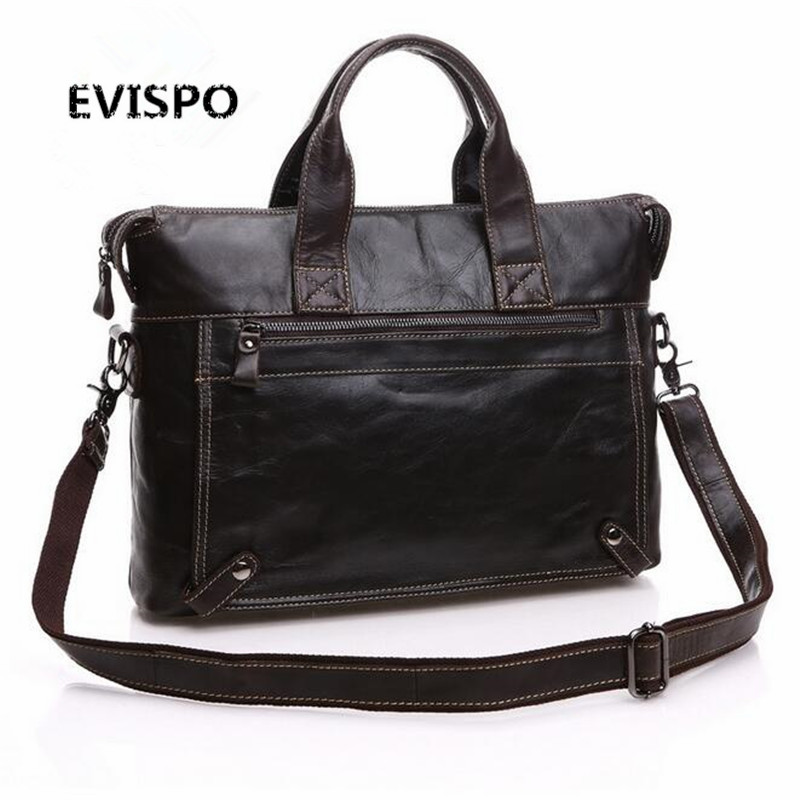 EVISPO Luxury Brand Genuine Real Cow Leather Messenger Bags Business Men Briefcases Handbags Men Totes Casual Male Bag Shoulder genuine real cow leather messenger bags 14 inch laptop business men briefcases handbags men totes casual male work bag shoulder