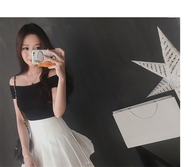 HTB1hYq6hfImBKNjSZFlq6A43FXat - Summer Korean Style Women's Blouses Solid Color Off The Shoulder Basic Tops Tee Sexy Lady Top Tee Plus Size