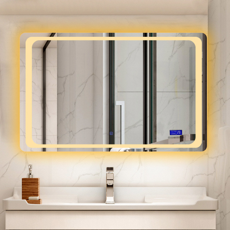 Glamo Hotel Custom Touch Bluetooth Bathroom LED Mirror Smart Anti fog Wall Vanity mirrorl For Home 2 Colors Light espejo pared tocador 1