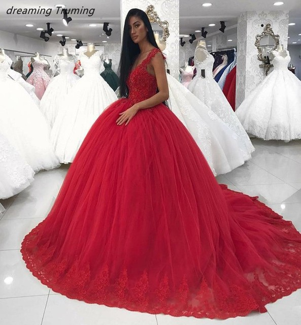 276e300af Vestidos de Quince anos 2019 Sweet 16 Ball Gowns Vintage Red Ball Gowns  Quinceanera Dresses Debutante Gowns Girls Prom Dress