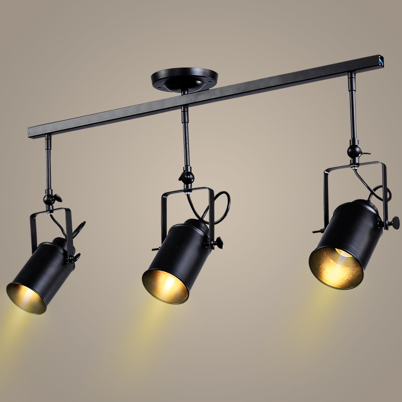 Retro Loft Vintage LED Track Light Industrial <font><b>Ceiling</b></font> Lamp Bar Clothing Personality spotlight Light Three Heads