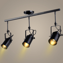 Retro Loft Vintage LED Track Light Industrial Ceiling Lamp Bar Clothing Personality spotlight Light  Three Heads