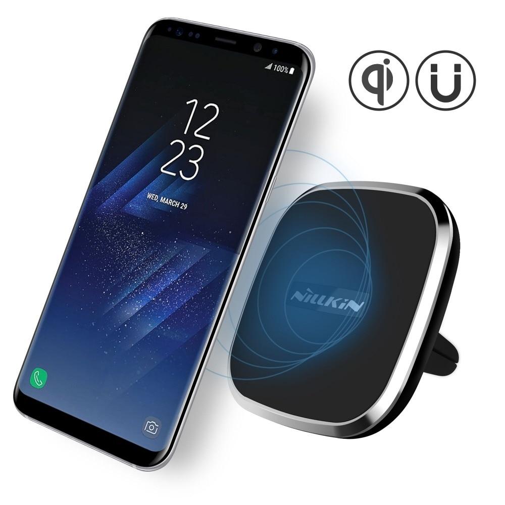 bilder für Nillkin auto qi wireless-ladegerät halter magnetische lüftungsschacht mount pad für samsung s6 s7 s7 kante anmerkung 5 anmerkung 7 für iphone 6 7 6 plus