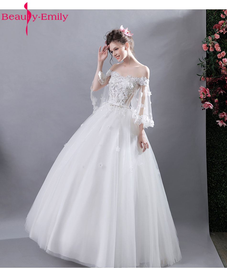 Beauty Emily Fashion White Wedding Dresses 2017 Ball Gowns Flower Lace Up Appliques Wedding Party Bridal Dresses