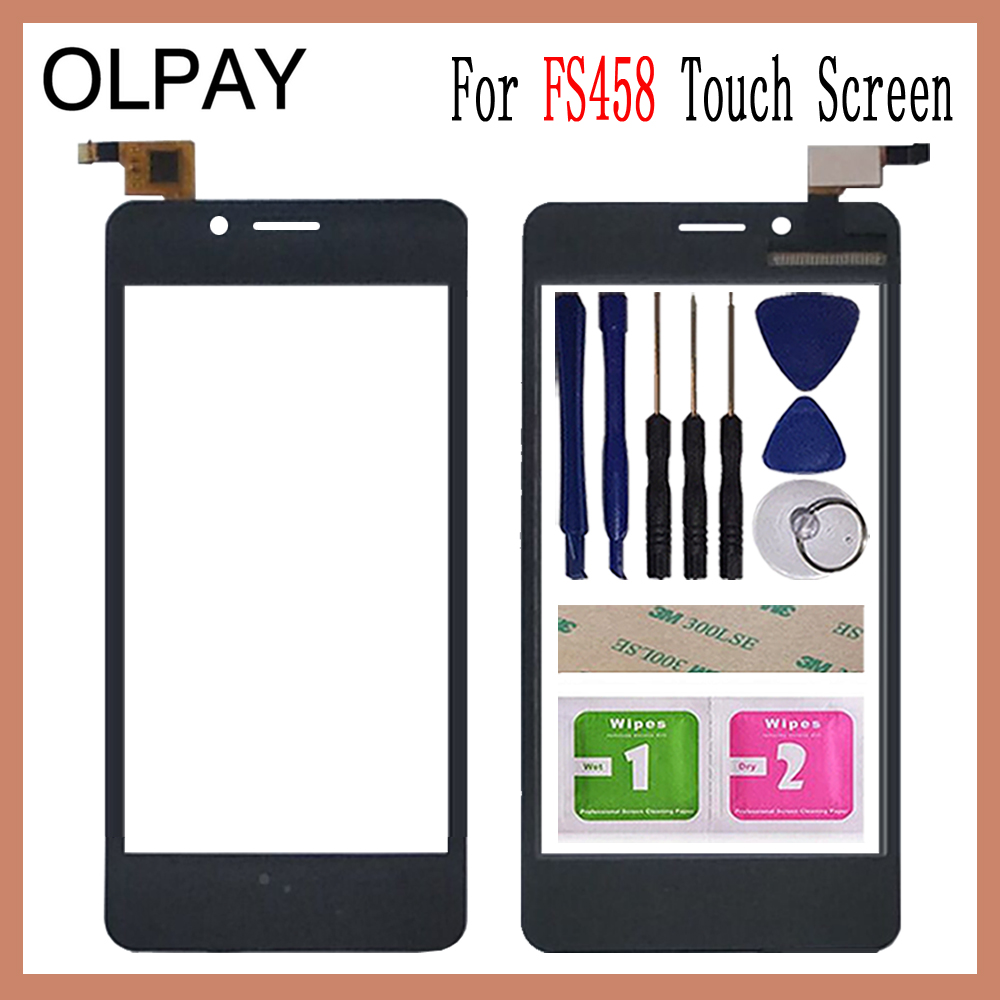 OLPAY 5.0'' Mobile Phone For Fly FS458 Stratus 7 FS 458 Touch Screen Glass Digitizer Panel Lens Sensor Tools Free Adhesive+Wipes