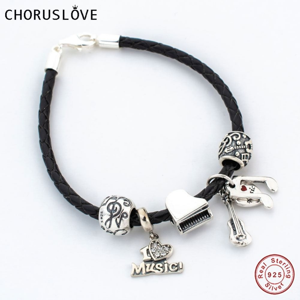 Chorislove High Grade Italian Black Braided Leather Bracelet with Music Note Charms Beads for Girl Gifts SJ2006 цена 2017