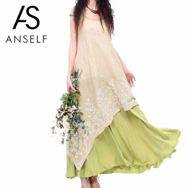 5XL Anself Boho שמלת הקיץ פרחוני רקמת מקסי מקרית נשים Vintage O צוואר שתי שכבות ארוכות חוף שמלת Vestidos פלוס גודל
