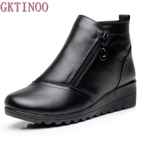 Winter Women Shoes Woman Genuine Leather Flat Snow Boots 2017 Warm Ankle Boots Women Boots