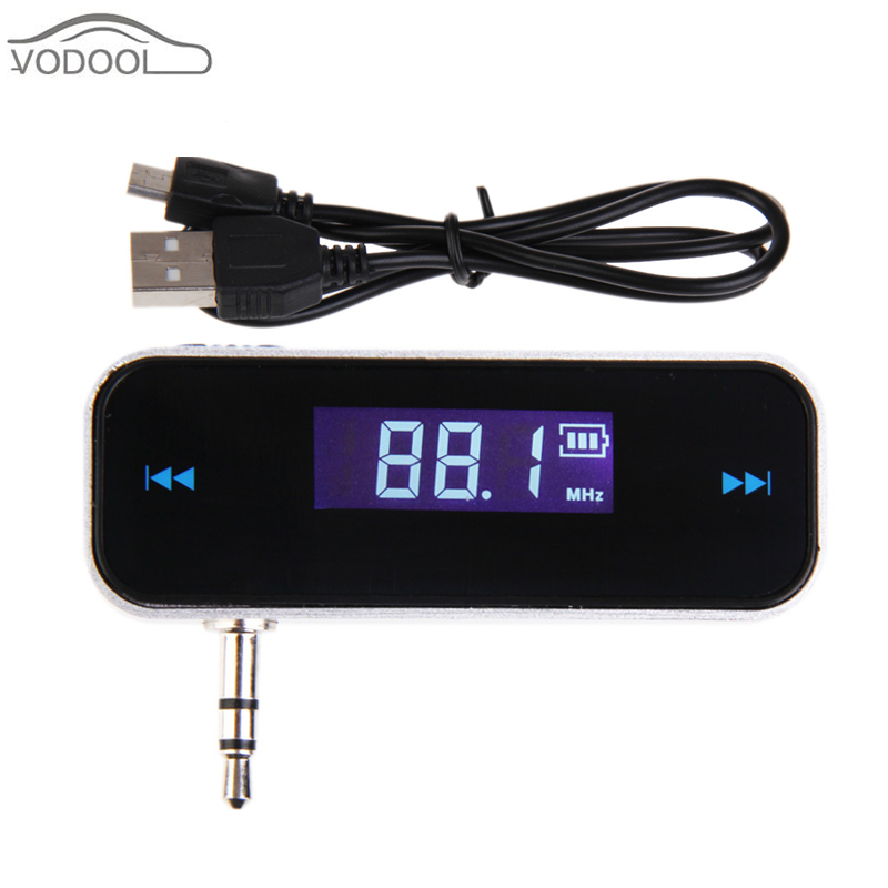 Automotive LCD Mini 3.5mm AUX Audio Handsfree FM Transmitter Auto Car Touch Key USB FM Modulator Built-in Battery with Mic