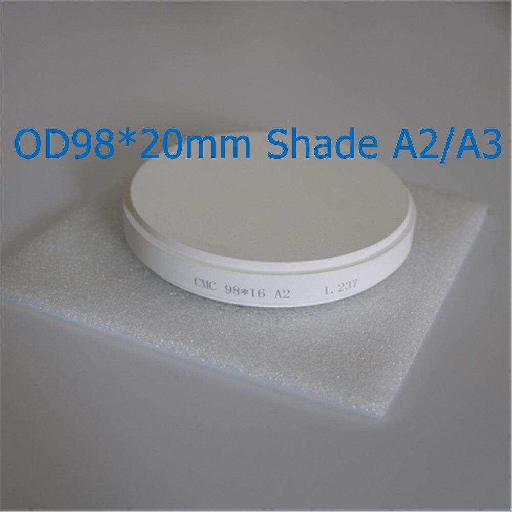 1 Piece OD98*20mm Pre-Shade A2/A3 Dental Lab Materials Zirconia Ceramic Blocks For Making Full Contour Crowns Bridge