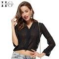 Hee grand blusas blusa blusa corpo 2017 de verão mulheres sexy oco Out Lace Voltar Sólidos Profundo Decote Em V Chiffon Da Moda Tops WCX1158