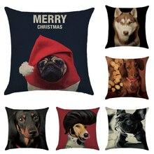 Cushion cover A Expression dog linen/cotton  animal design pillow case Home decorative pillow cover seat pillow case