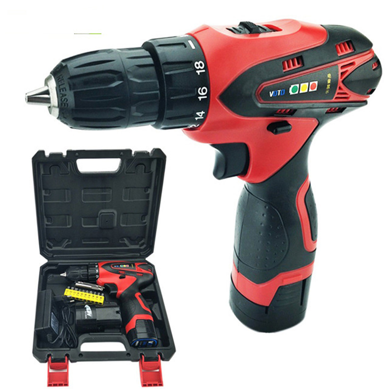 цена на 16.8V Cordless Battery Drill Electric Drill Screwdriver Power Tools Carbon Mini Drill Double Speed Lithium Plastic box