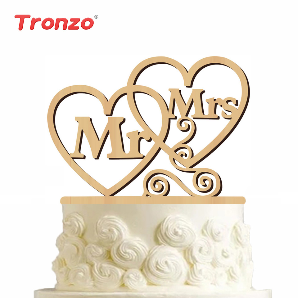 Tronzo 1 Set Wedding Cake Topper MR & MRS Cuore Letter Wooden Topper - Per vacanze e feste