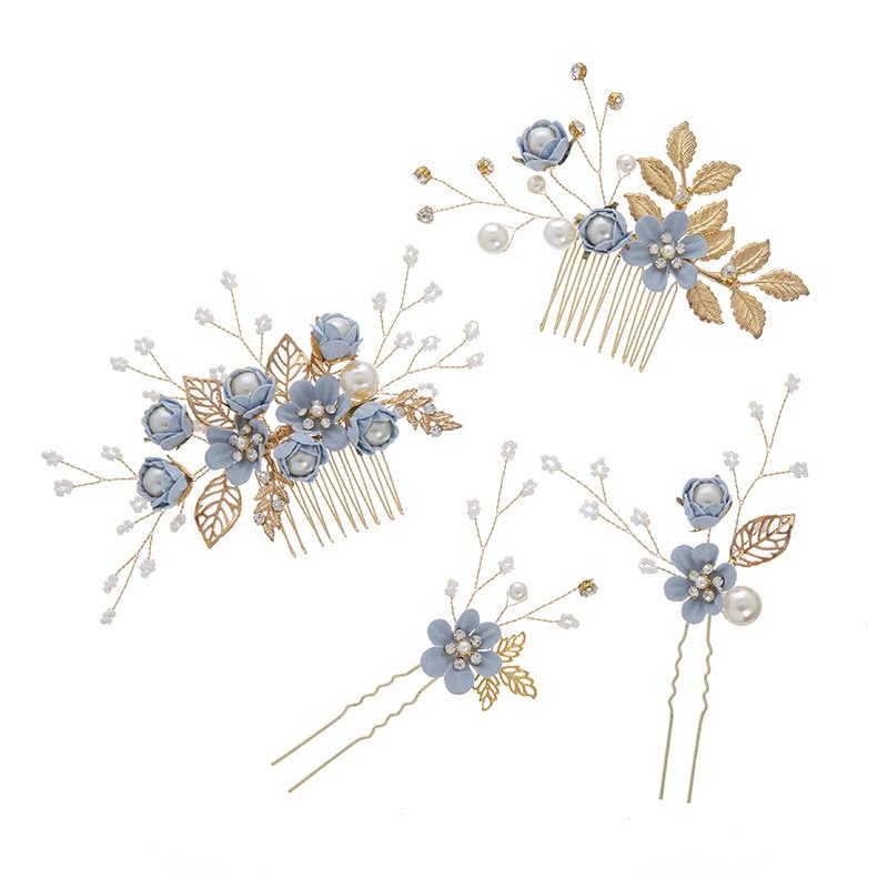KMVEXO Роскошные розового и голубого цвета с цветочным принтом расчески для волос повязка на голову Выходные туфли на выпускной бал свадебные аксессуары для волос, золотистый листья украшение для волос шпильки 2019