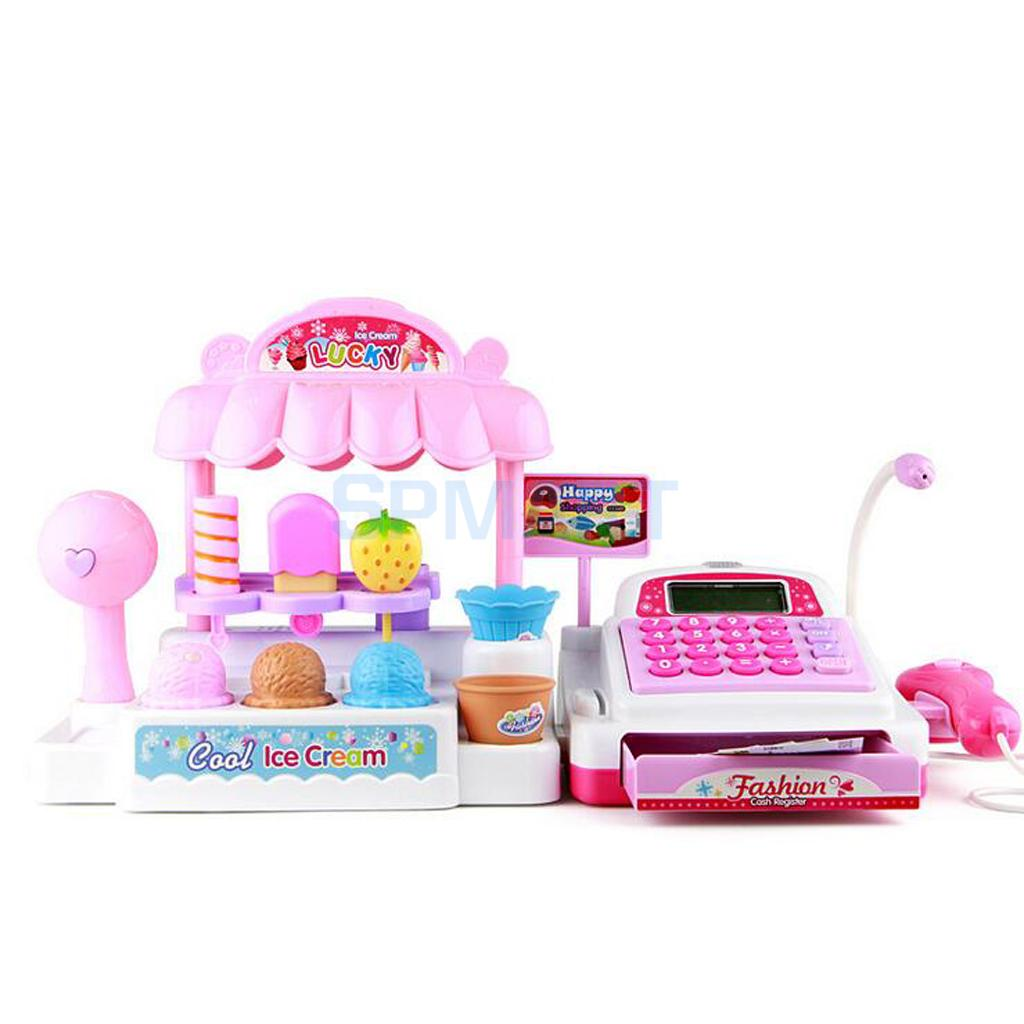 36 Pcs Simulation Ice Cream Store Cash Register Set w/Music & Light Kids Food Pretend Play Toy Gift