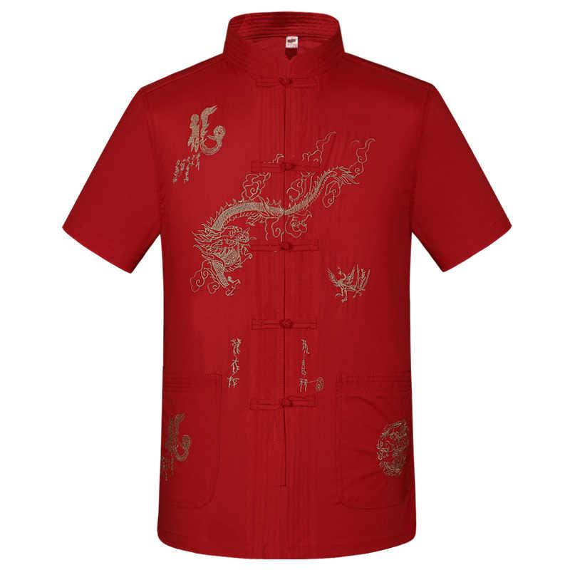 夏のシルク半袖唐衣装男性熟成中国スタイルスタンドリード老いと減少ハーフスリーブジャケットお父さんCO1287