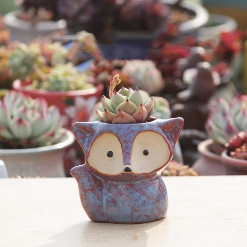 Mini Desktop Flower Pot Pottery New Succulent Pot Planter Creative Animal Fish