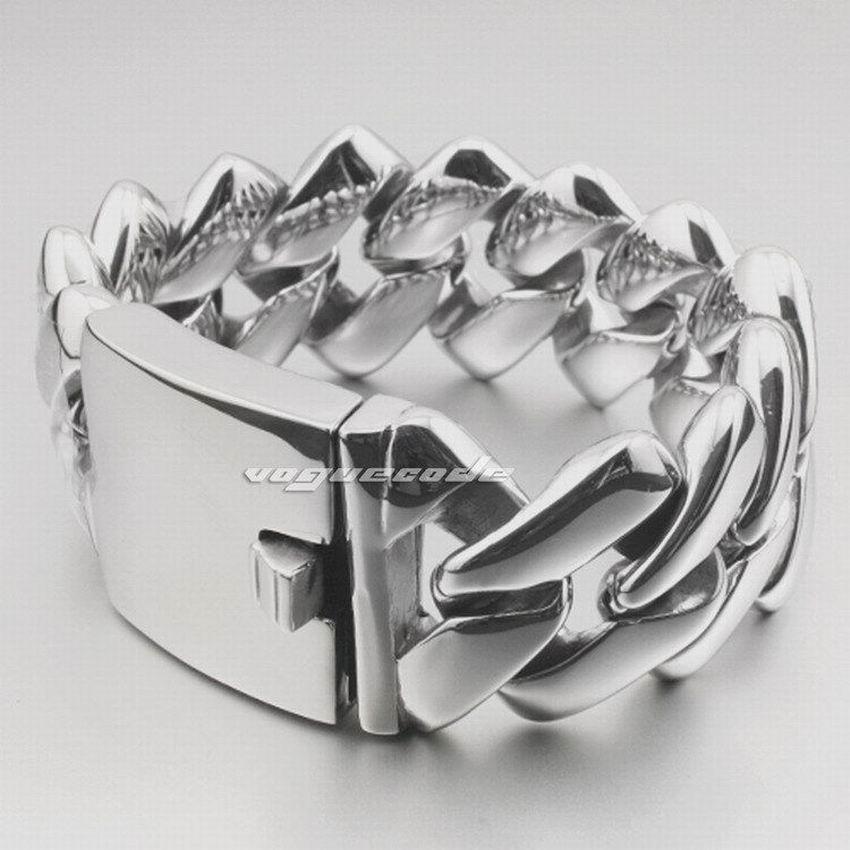 Bracelet de motard pour hommes en acier inoxydable 316L massif robuste LINSION 5E013