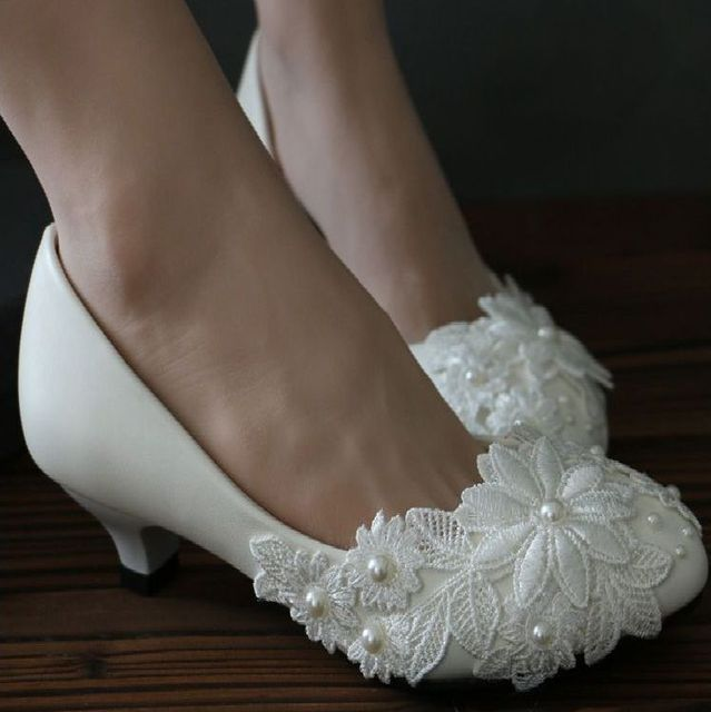 0dc145d689f41 Handmade lace wedding shoes women white color custom made low med high heels  brides pumps shoes bridesmaid shoes in stock