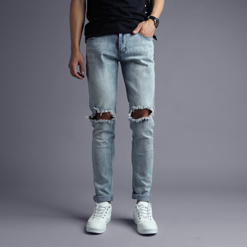 2017 Newly Fashion Mens Jeans Ripped Jeans For Men Slim Fit Stretch Denim Pants Streetwear Balplein Brand Skinny Jeans Men 2017 fashion patch jeans men slim skinny stretch jeans ripped denim blue pants new famous brand mens elastic jeans f701