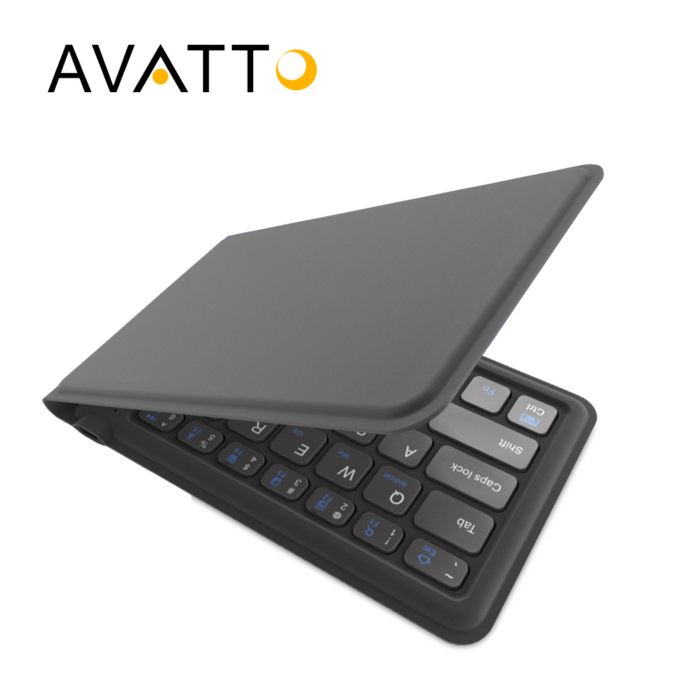 [AVATTO] A20 de cuero portátil plegable Mini teclado Bluetooth plegable teclado inalámbrico para iPhone, teléfono android tableta, iPad, PC
