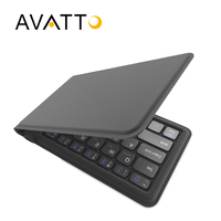 AVATTO A20 Portable Leather Mini Folding Bluetooth Keyboard Foldable BT Wireless Keypad for iphone,android phone,Tablet,ipad,PC