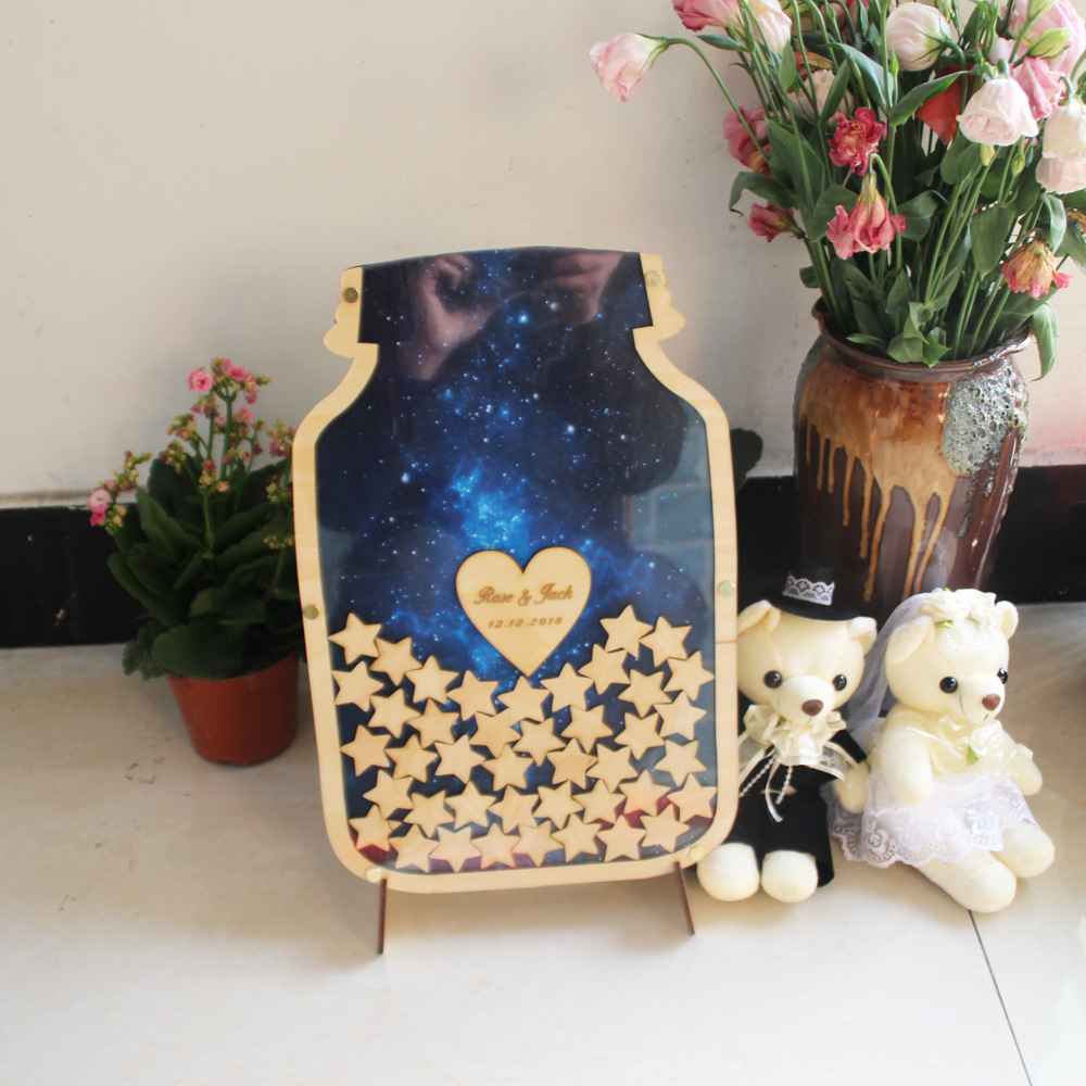 Personalised Wedding Guest book, Custom Drop top Drop box wedding Decoration alternative Guest Book , Rustic Birthday Gift2