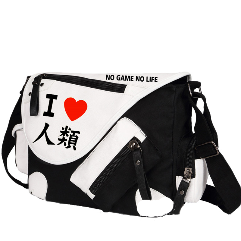 No Game No Life I Love Human Printing Cosplay Shoulder Bag School Students Canvas Messenger Crossbody Bags