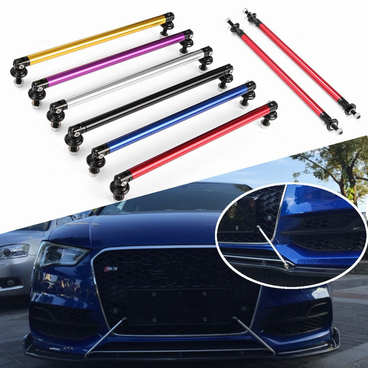 2x Universal 200mm Adjustable Front Rear Bumper Lip Splitter Rod Support Bars