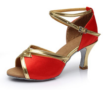 2017 New Style Satin PU High Quality Women Ladies Girls Tango Salsa 5cm 7cm Heel Latin