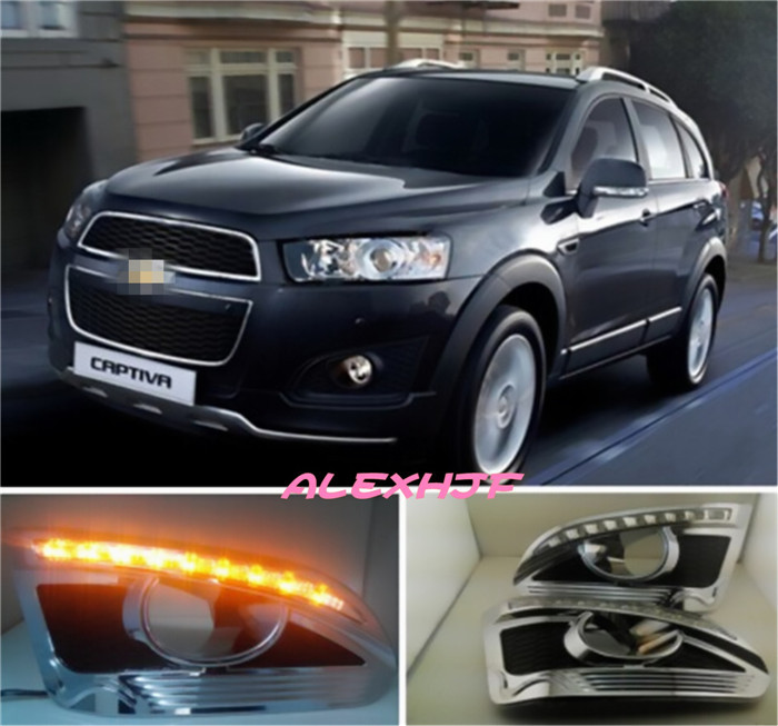 July King LED Daytime Running Lights DRL with Yellow Turn Signal Light , LED Fog Lamp case for Chevrolet Captiva 2014~ON