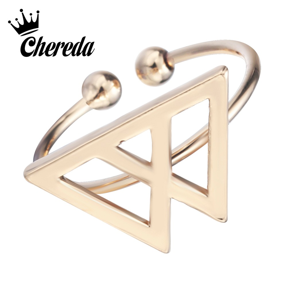 Chereda Popular Sweet Triangle Open Adjustable Rings for Women Hollow Geometric Vintage Birthday Valentines Day Gift