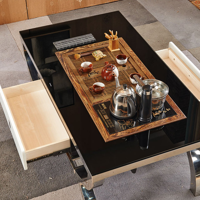 Stainless Steel Tea Glass Coffee Table Office Furniture