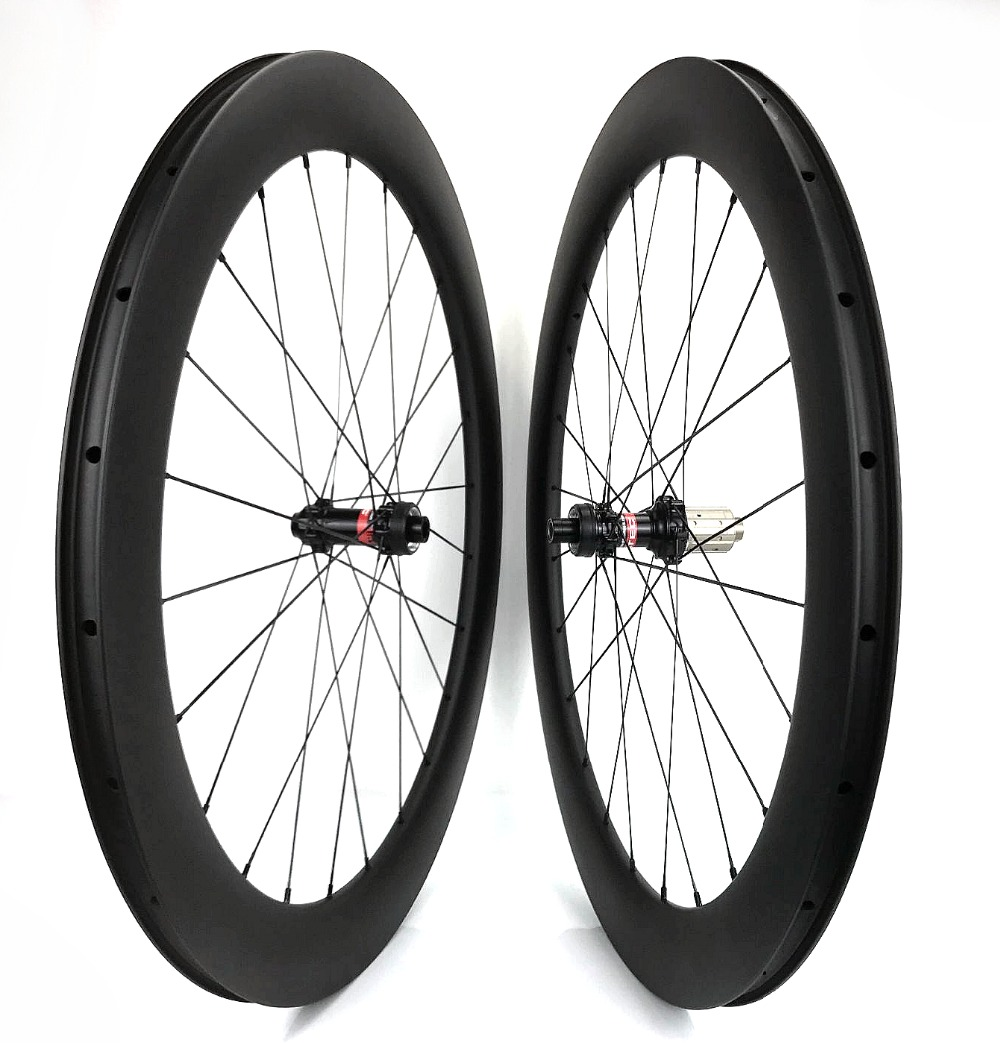 700C 60mm depth 23mm width Carbon disc brake Bike Wheels Clincher /Tubular bicycle wheelset with novatec 411/412 CL hubs