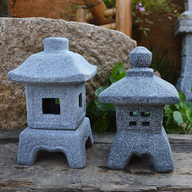 Merveilleux Japanese Style Lamp Imitation Stone Small Wind Lamp Garden Ornaments Candle  Lights Gardening Decoration