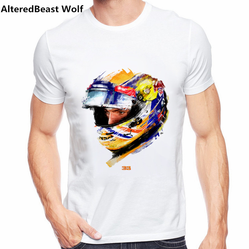 New arrival tshirt men Max Verstappen   T     Shirt   F1 Racer Verstappen Graphic Short Sleeve Tees   Shirts   Men F1 Fans Cool white tops