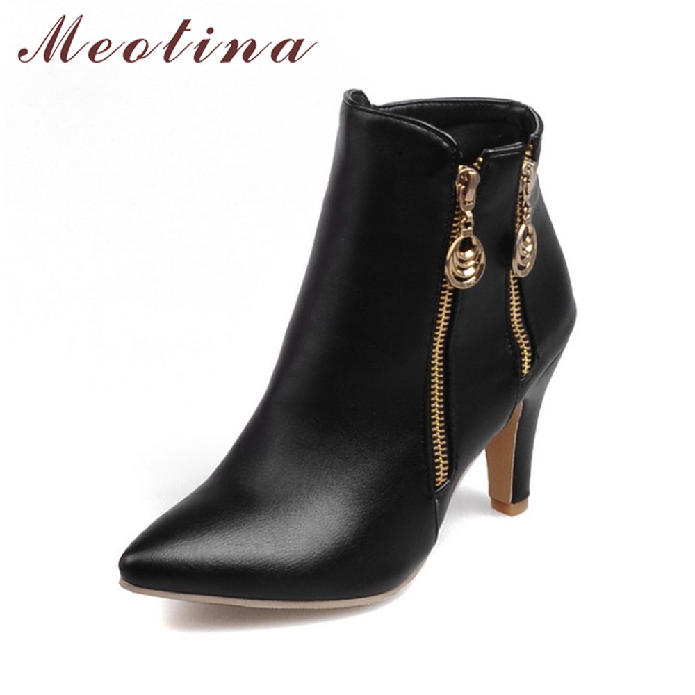 Meotina Women Winter Ankle Boots Autumn High Heel Boots Pointed Toe Martin Boots Zipper Shoes 2017 Black White Large Size 45 meotina genuine leather women ankle boots winter block high heel boots leather boots pointed toe female autumn shoes big size 42