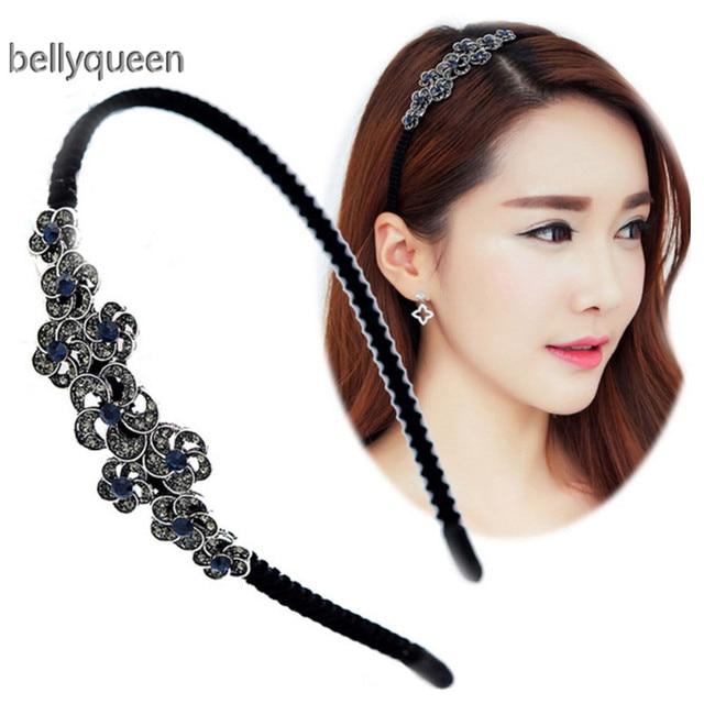 acfc782f685 Fashion Shiny Women Rhinestone Flower Hairbands for girls Decoration  Jewelry Headband Daily Hair Band Bridal Hair Accessories
