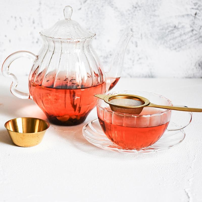 Stainless Steel Tea Infuser Afternoon Tea Filter Long Handle Mesh Tea Strainer with Drip Bowl loose Leaf Green Herb Tea Accessories  (14)
