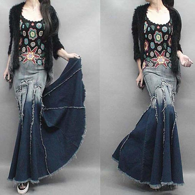 Besplatna dostava 201 Nova moda traper traper suknje dugih podova za - Ženska odjeća