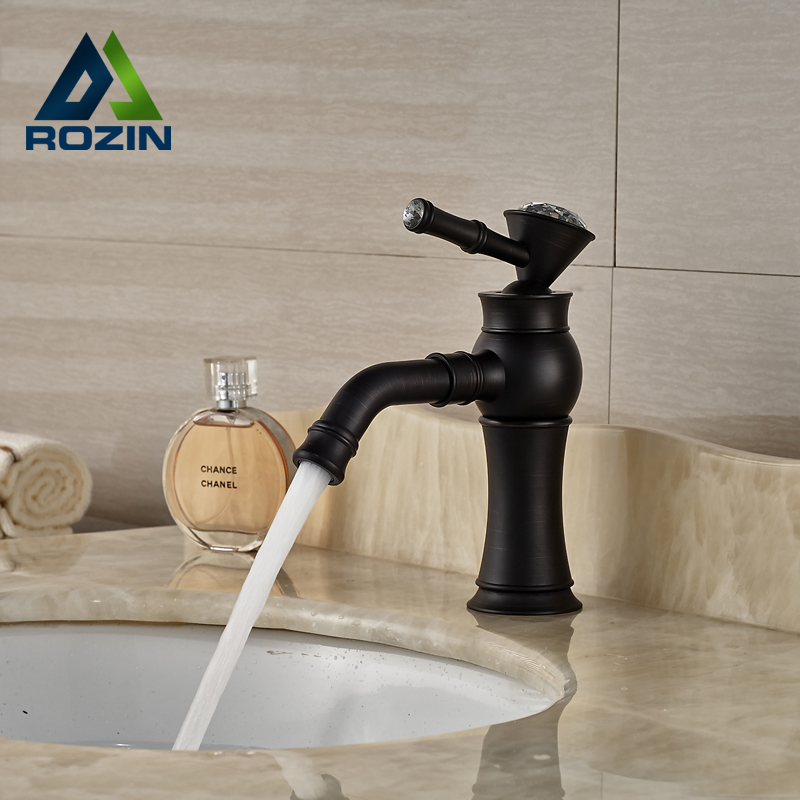 все цены на Oil Rubbed Bronze Deck Mount One Hole Mixer Tap Bathroom Sink Faucet Single Handle онлайн