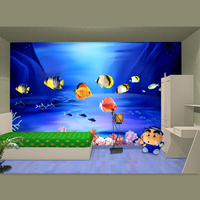 Grand art mural personnalisation usines films décoratifs auto-adhésif enfants papier peint enfant dessin animé pvc stickers muraux poisson de mer