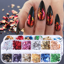 1 Box 3D Irregular Aluminum Foils Nail Slices Flakes Sequins Film Mirror Glitter Stickers Nail Art Decorations Manicure TR950(China)