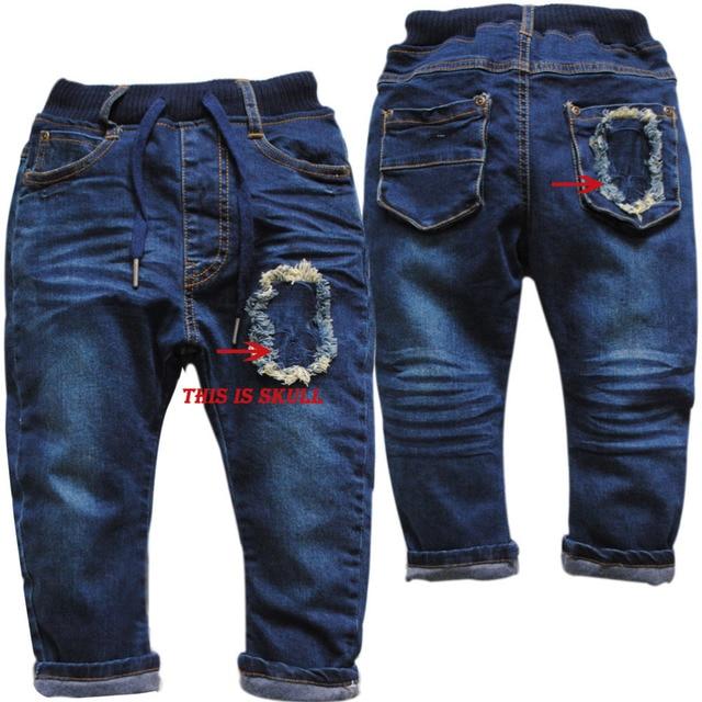 3933 Гарем брюки джинсовые поздней осенью и ранней весной двухэтажные крест мальчик джинсы темно-синий дети брюки повседневные череп