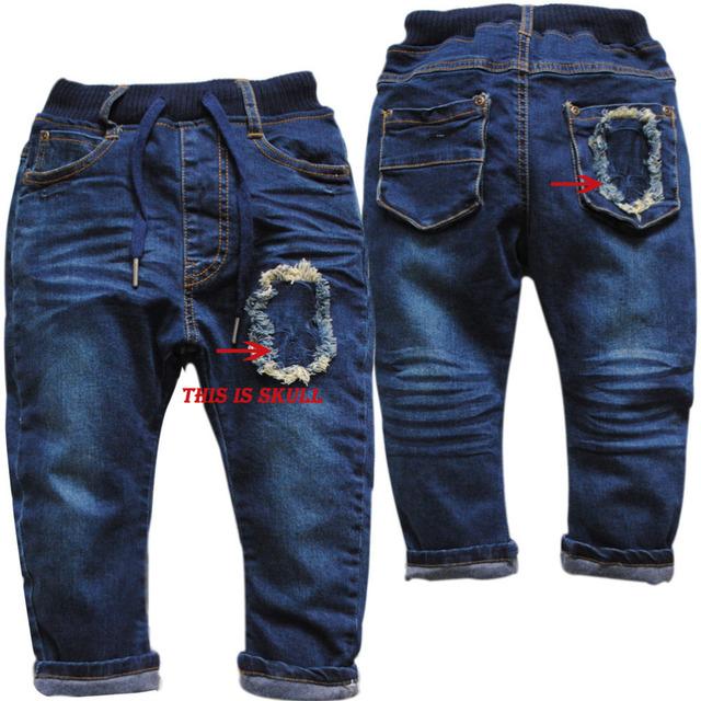 3933 Harem Pants jeans início da primavera final do outono double-deck cruz menino calça jeans azul marinho crianças calças casuais crânio