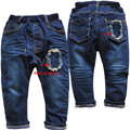 3933 Harem denim  pants late  autumn early spring  double-deck cross boy  jeans navy blue kids trousers casual skull