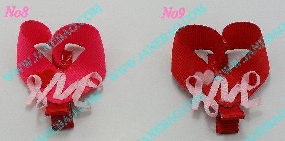 100 шт, бант для волос для девочек, заколки с сердечками на День святого Валентина