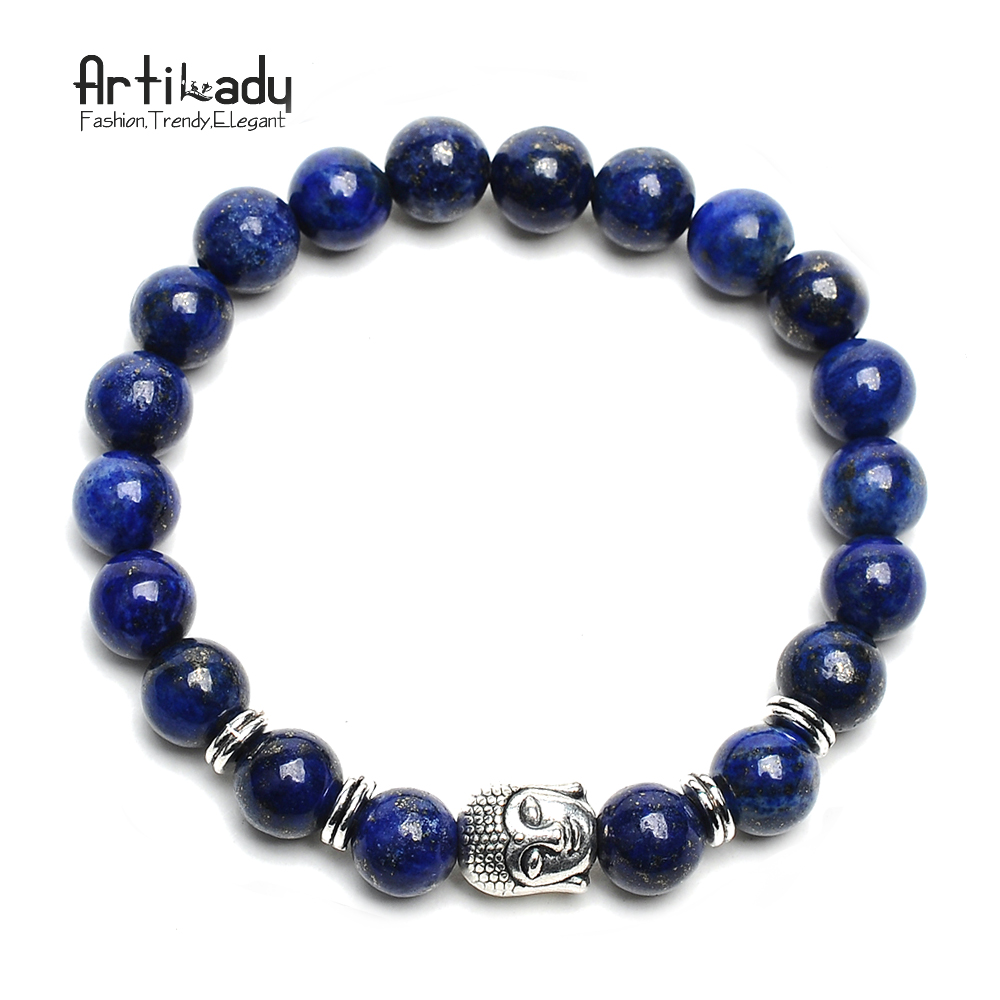 Bead Charms For Bracelets: Artilady 15 Colors Natural Stone Bead Bracelet Buddha